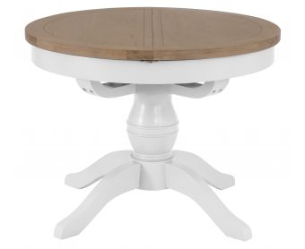 Ellen Oak and White Round Butterfly Extending Table