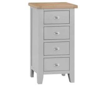 William Oak and Grey 4 Drawer Narrow Chest of Drawers