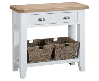 Ellen Oak and White Small Console Table