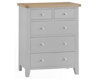 William Oak and Grey Large 2 Over 3 Chest of Drawers