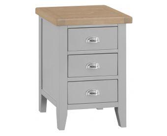 William Oak and Grey Large 3 Drawer Bedside Table