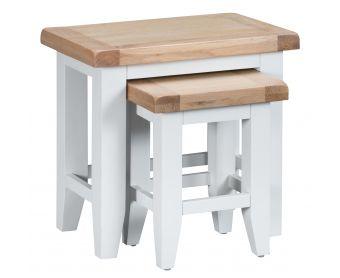 Ellen Oak and White Nest of 2 Tables