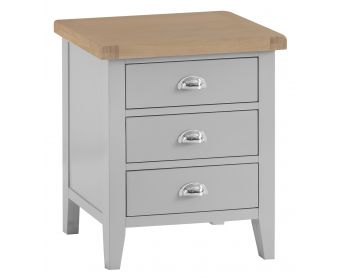 William Oak and Grey Extra Large 3 Drawer Bedside Table