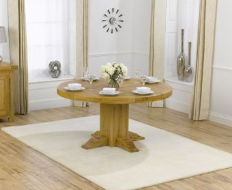 Torino 150cm Solid Oak Round Dining Table