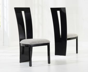 Verbier Black Solid Wood Dining Chairs (Pairs)