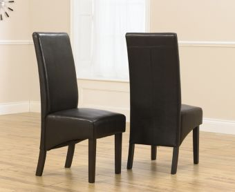 Dakota Brown Dark Oak Faux Leather Dining Chairs (Pairs)