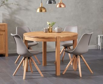Verona 110cm Oak Round Dining Table with Ophelia Faux Leather Round Leg Chairs