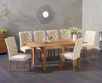 Verona 120cm Extending Solid Oak Table with Candice Fabric Chairs