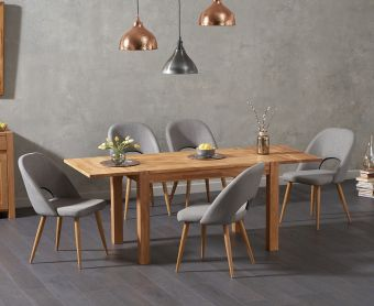 Verona 120cm Solid Oak Extending Dining Table with Harrogate Fabric Chairs