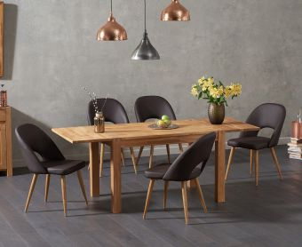 Verona 120cm Solid Oak Extending Dining Table with Harrogate Faux Leather Chairs