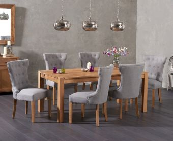 Verona 150cm Solid Oak Dining Table with Cora Fabric Chairs