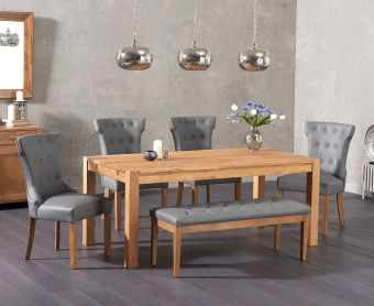 Verona 150cm Solid Oak Dining Table with Cora Grey Faux Leather Chairs and Cora Grey Faux Leather Bench