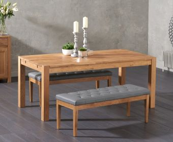 Verona 150cm Solid Oak Dining Table with Cora Grey Faux Leather Benches