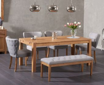 Verona 150cm Solid Oak Dining Table and Imogen Fabric Chairs and Cora Grey Fabric Bench