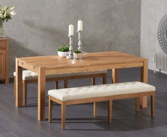 Verona 180cm Solid Oak Dining Table and Cora Cream Fabric Benches
