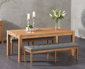 Verona 180cm Solid Oak Dining Table with Cora Grey Faux Leather Benches