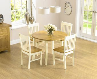 Genoa Oak & Cream 100cm Drop Leaf Extending Dining Table Set with Chairs