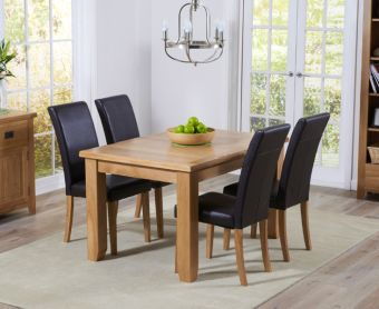 Yateley 130cm Oak Extending Dining Table with Albany Chairs