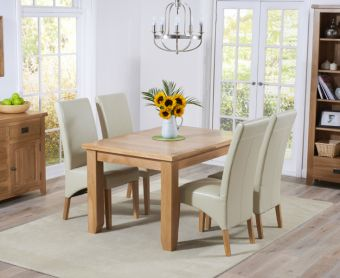 Yateley 130cm Oak Extending Dining Table with Cannes Chairs