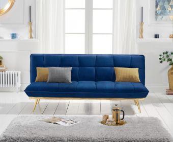 Yolanda 3 Seater Sofa Bed in Blue Velvet
