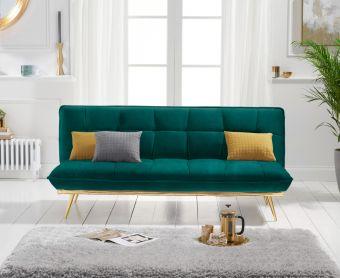 Yolanda 3 Seater Sofa Bed in Green Velvet