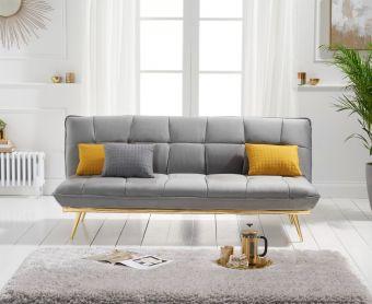 Yolanda 3 Seater Sofa Bed in Grey Velvet