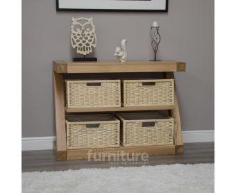 Z Solid Oak Designer Basket Console Table