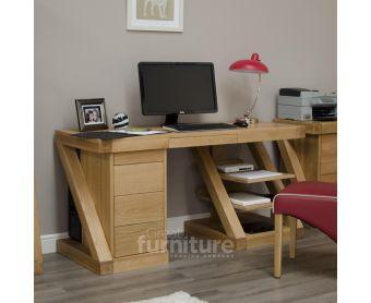 Z Solid Oak Designer Large Desk