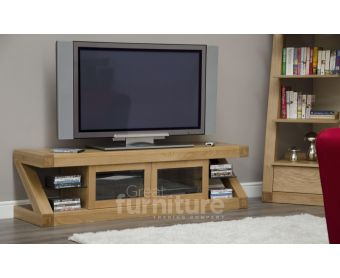 Z Solid Oak Designer Glass TV Plasma Unit