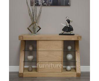Z Solid Oak Designer Narrow Sideboard