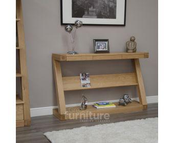 Z Solid Oak Designer Wide Hall Table With Shelf
