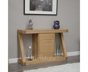 Z Solid Oak Designer Console Table With Drawers