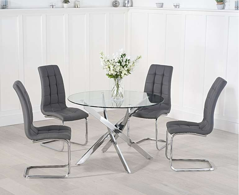 Product photograph showing Denver 120cm Glass Dining Table With Lorin Chairs