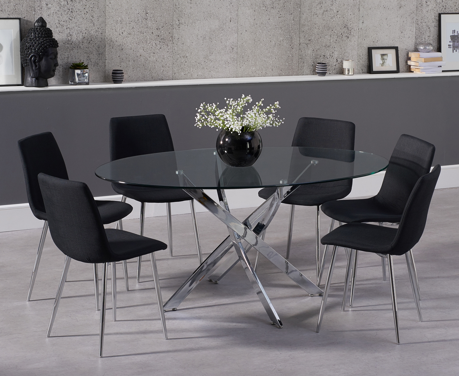 Denver 165cm Glass Dining Table with Hamburg Fabric Chrome Leg Chairs