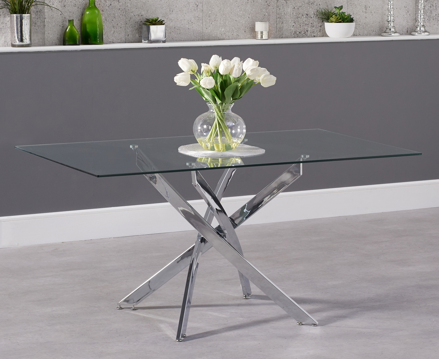 Product photograph showing Denver 160cm Glass Dining Table