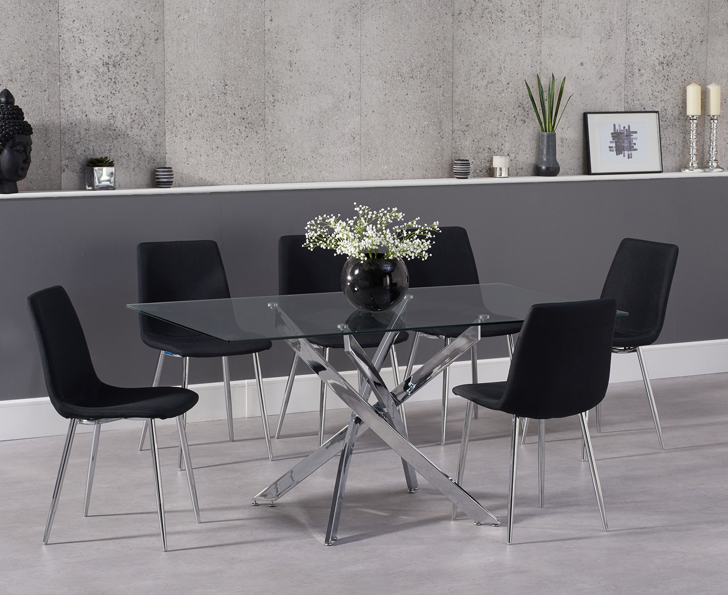 Photo of Denver 160cm glass dining table with hamburg fabric chrome leg chairs
