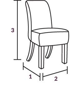 Marseille Oak and Cream Dining Chairs Dimensions