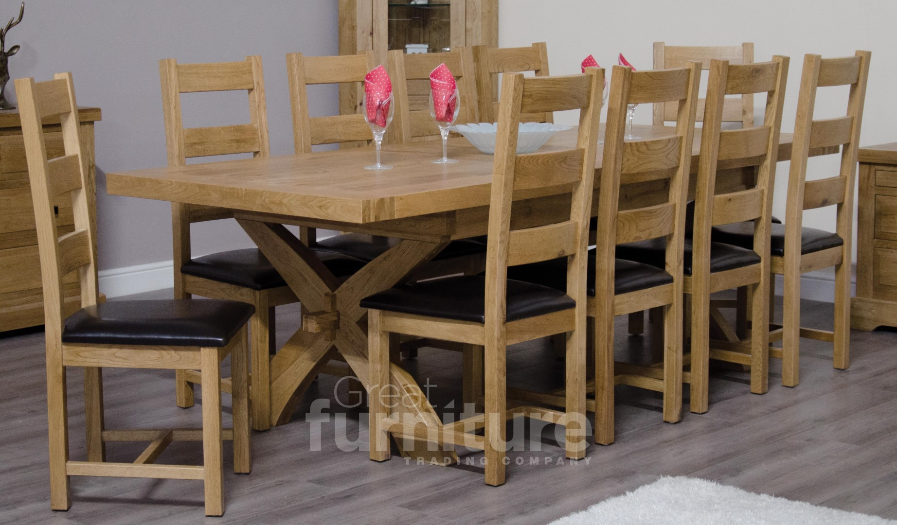 Deluxe X-Leg Dual Extending Solid Oak Dining Table with Ladderback Chairs