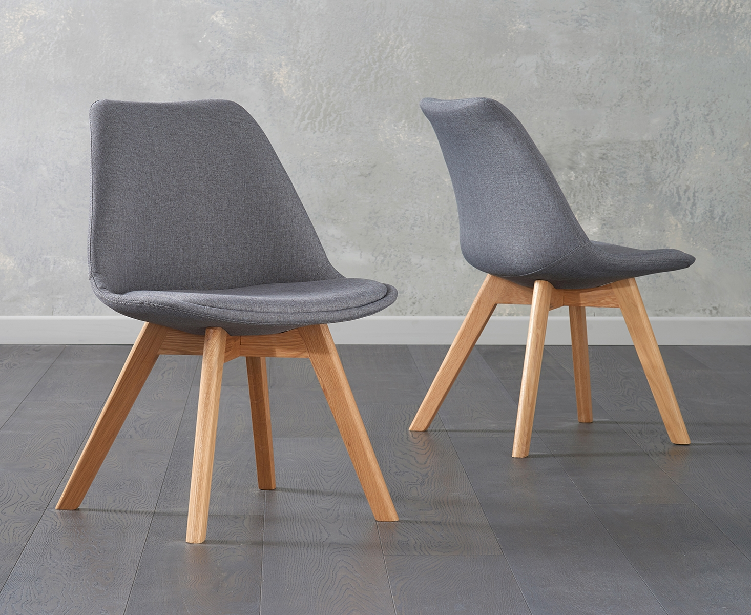 Product photograph showing Demi Dark Grey Fabric Chairs Pairs