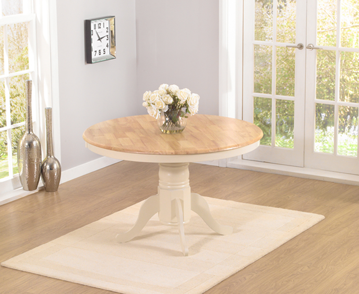 An image of Epsom Cream 120cm Round Pedestal Dining Table