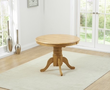 Product photograph showing Epsom Oak Extending Pedestal Table