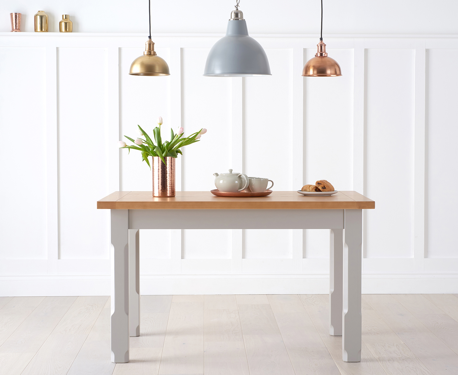 Eton 120cm Grey Solid Pine and Ash Kitchen Table