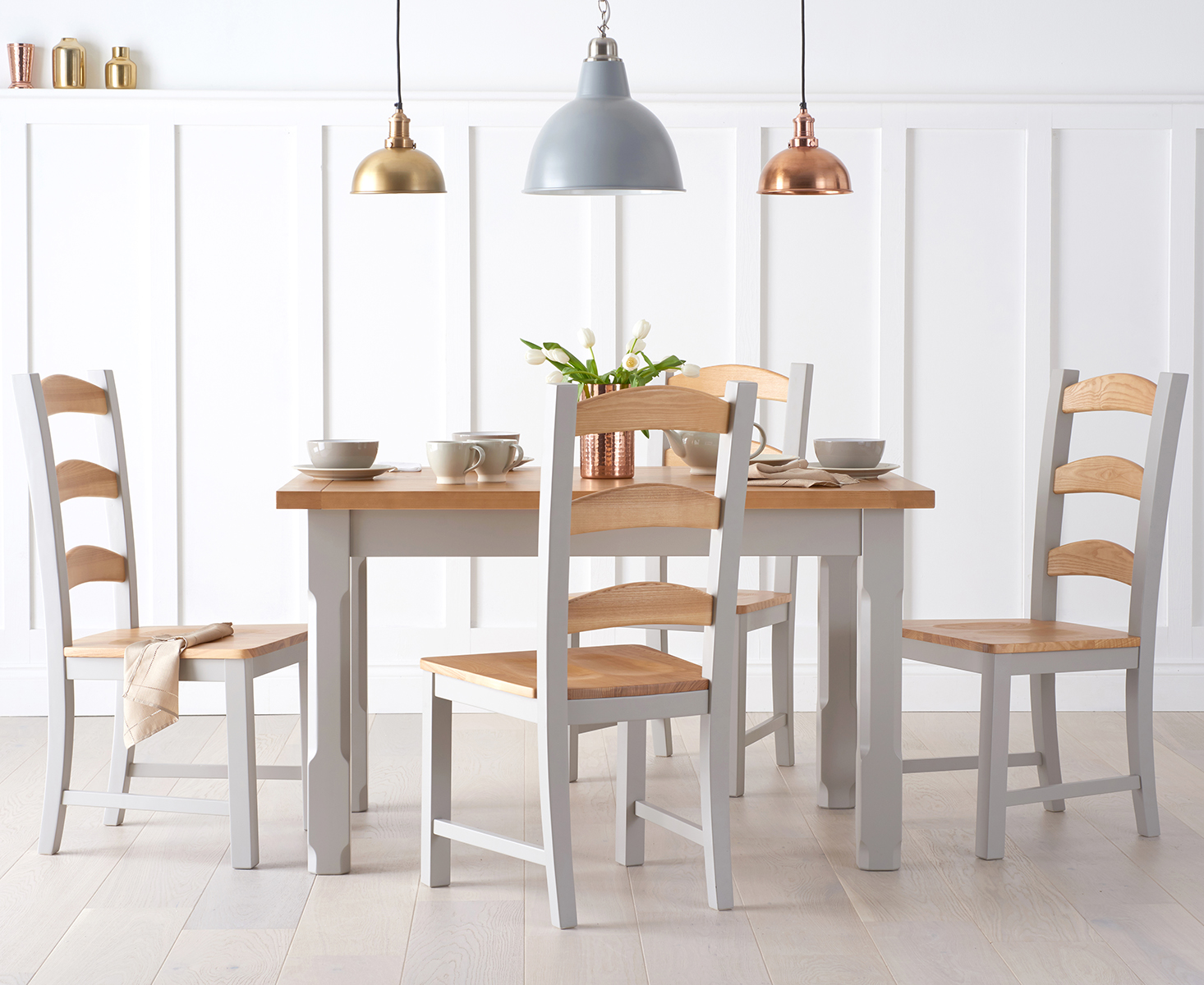 Eton 120cm Grey Solid Pine and Ash Kitchen Table with Eton Chairs