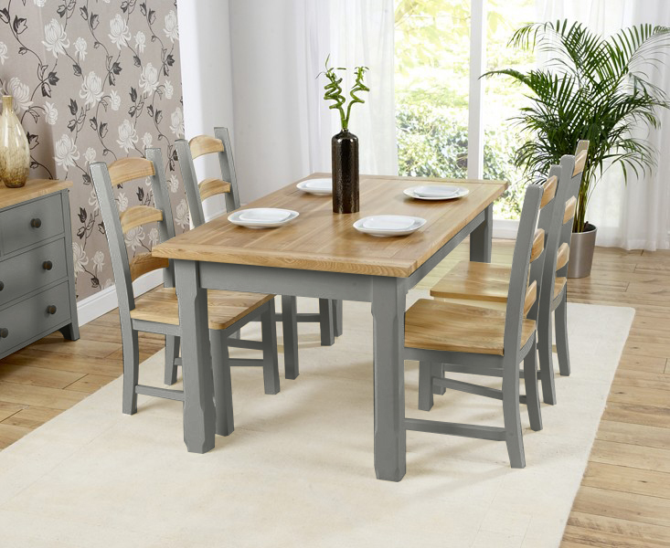 Eton Grey 150cm Solid Pine and Ash Kitchen Table with Chairs