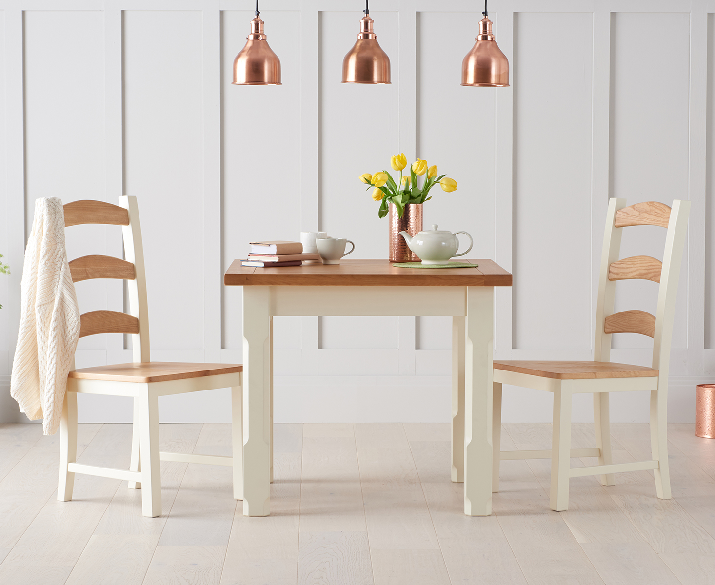 Eton 90cm Solid Pine and Ash Kitchen Table with Eton Chairs