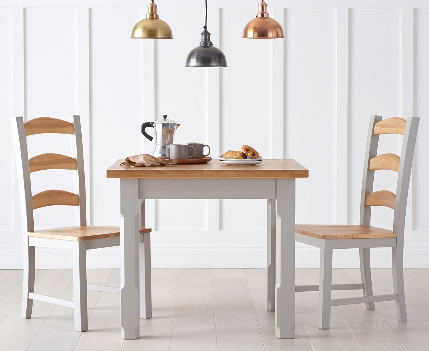 Eton Grey 90cm Solid Pine and Ash Kitchen Table with Chairs