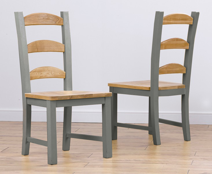 Eton Grey Solid Pine and Ash Dining Chairs (Pair)