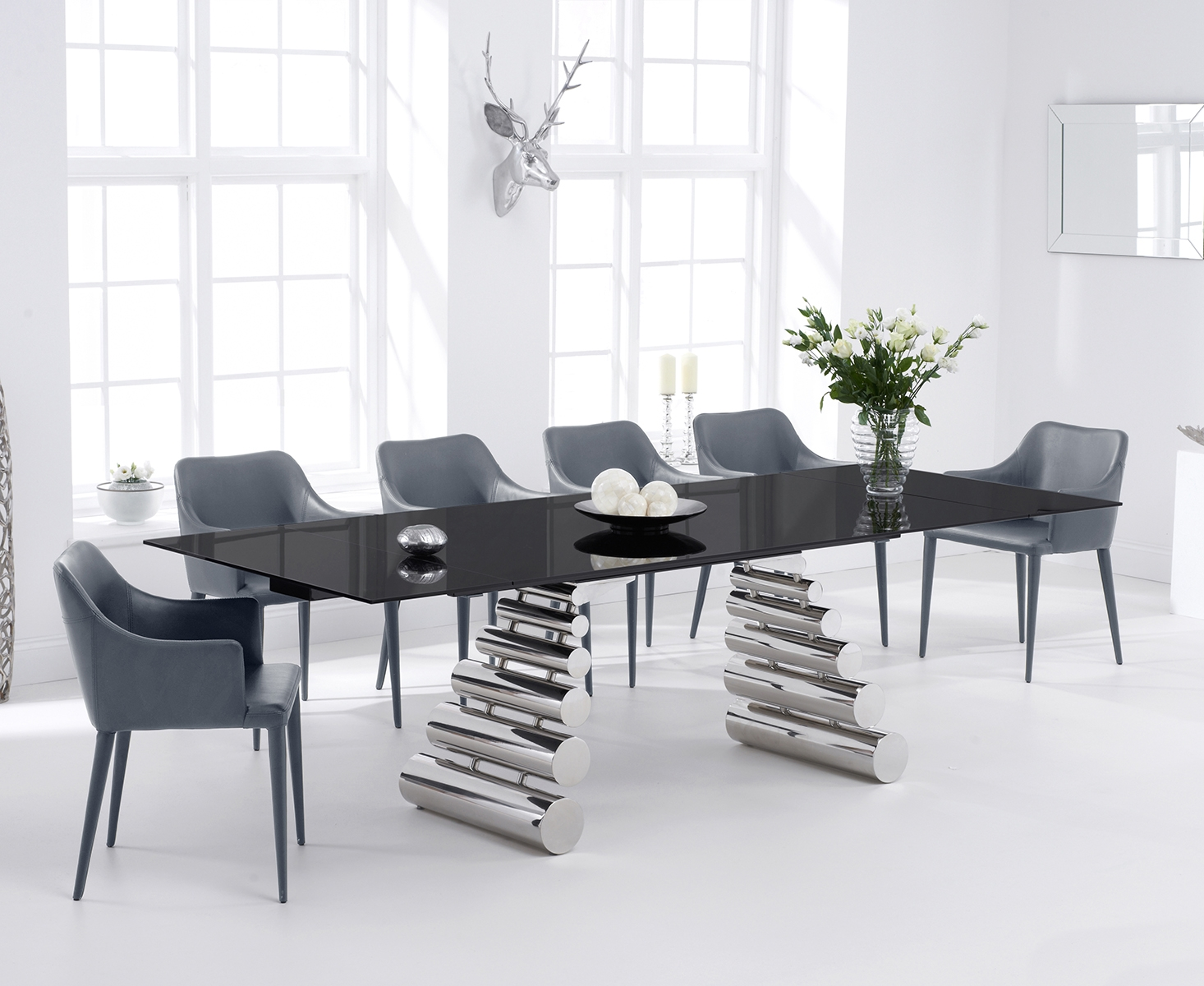 Firenze 180cm Black Glass and Metal Extending Dining Table with Cuba Chairs