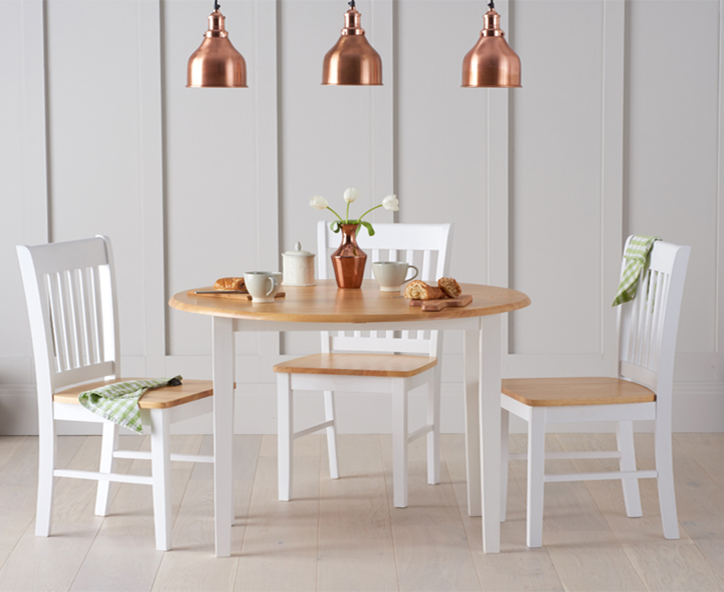 Genoa 100cm Oak and White Drop Leaf Extending Dining Table Set with Chairs
