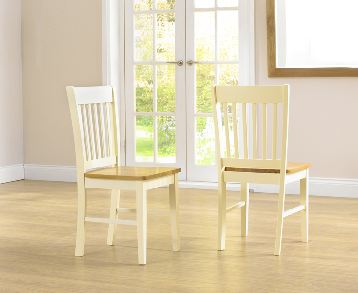 Product photograph showing Genoa Cream Dining Chairs Pairs